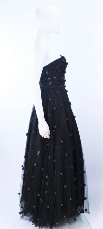 PAMELA DENNIS Attributed Black Mesh Gown with Rose Applique & Wrap Size 2 4 7