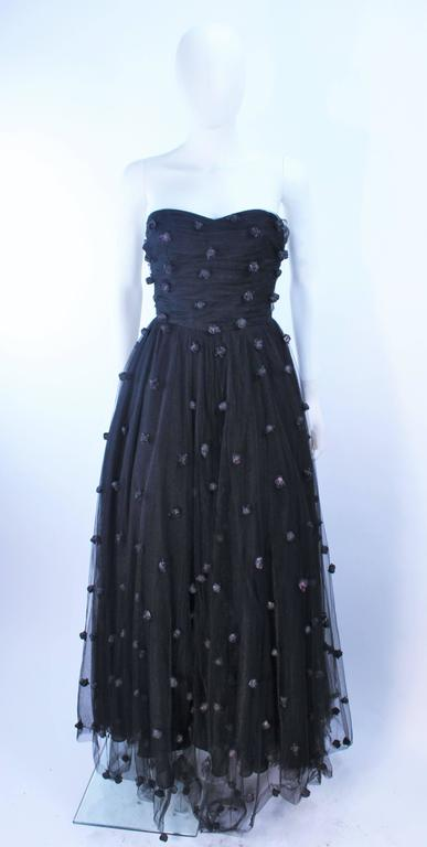 PAMELA DENNIS Attributed Black Mesh Gown with Rose Applique & Wrap Size 2 4 4