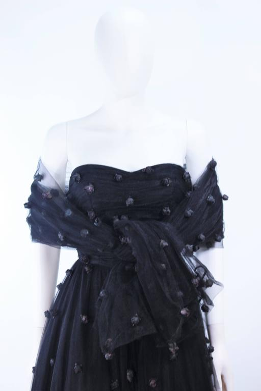 PAMELA DENNIS Attributed Black Mesh Gown with Rose Applique & Wrap Size 2 4 3