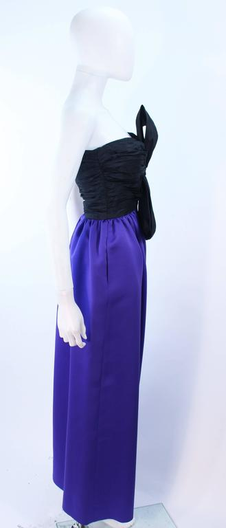 JILL RICHARDS Black and Purple Satin Gown with Bow Applique Size 4 6 8