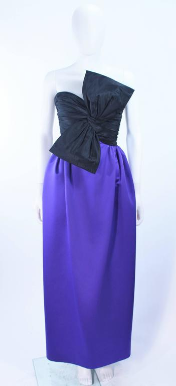 JILL RICHARDS Black and Purple Satin Gown with Bow Applique Size 4 6 2