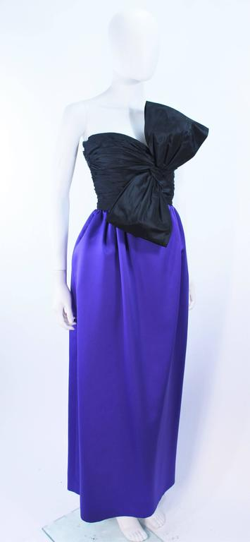 JILL RICHARDS Black and Purple Satin Gown with Bow Applique Size 4 6 5