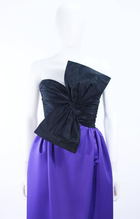 JILL RICHARDS Black and Purple Satin Gown with Bow Applique Size 4 6 3