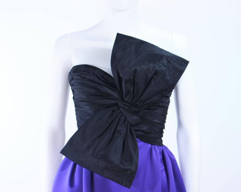 JILL RICHARDS Black and Purple Satin Gown with Bow Applique Size 4 6 4