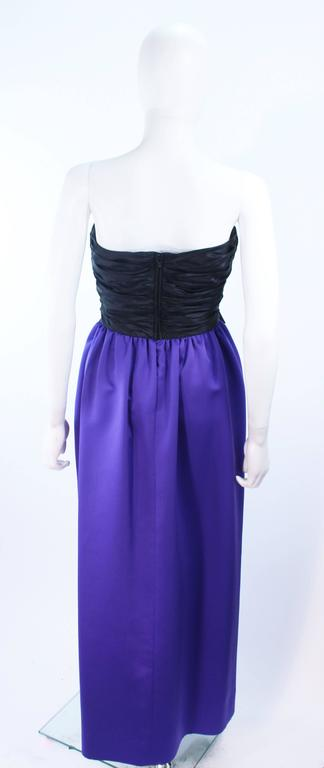 JILL RICHARDS Black and Purple Satin Gown with Bow Applique Size 4 6 9