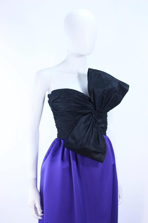 JILL RICHARDS Black and Purple Satin Gown with Bow Applique Size 4 6 6