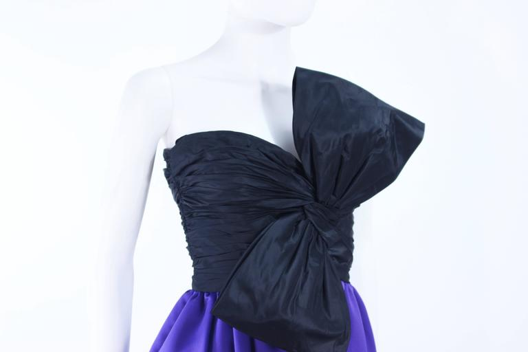 JILL RICHARDS Black and Purple Satin Gown with Bow Applique Size 4 6 7