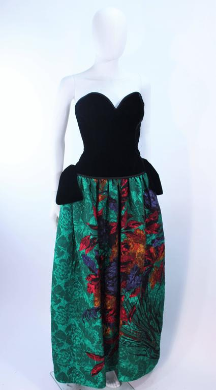 ODICINI COUTURE Black Velvet and Green Floral Gown Size 4 For Sale 2