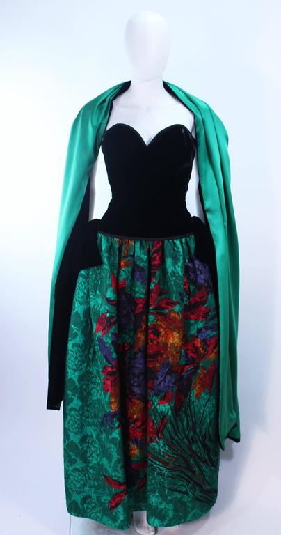 ODICINI COUTURE Black Velvet and Green Floral Gown Size 4 For Sale 1