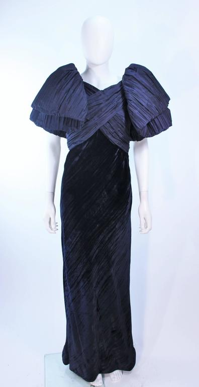 JACQUELINE DE RIBES Gown Navy Bias Velvet and Pleated Bodice Size 6 8 For Sale 1