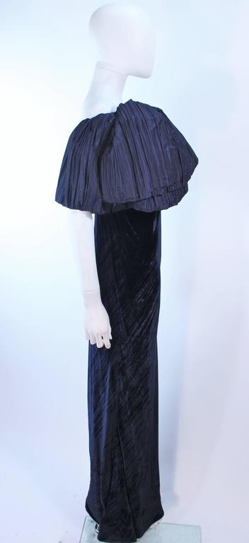 JACQUELINE DE RIBES Gown Navy Bias Velvet and Pleated Bodice Size 6 8 For Sale 2