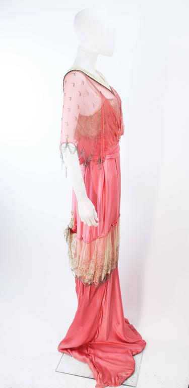 VINTAGE VICTORIAN Pink Silk Gown with Silver Hand Beaded Applique Size 2 4 8