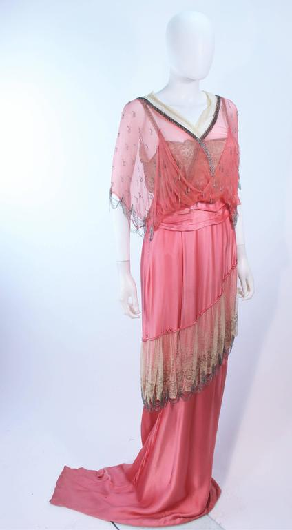 VINTAGE VICTORIAN Pink Silk Gown with Silver Hand Beaded Applique Size 2 4 5
