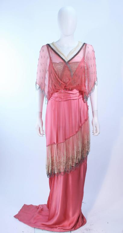 VINTAGE VICTORIAN Pink Silk Gown with Silver Hand Beaded Applique Size 2 4 2