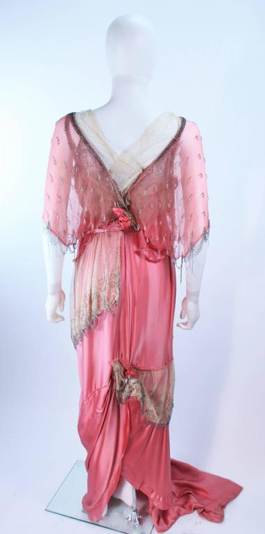 VINTAGE VICTORIAN Pink Silk Gown with Silver Hand Beaded Applique Size 2 4 9
