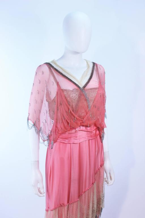 VINTAGE VICTORIAN Pink Silk Gown with Silver Hand Beaded Applique Size 2 4 6