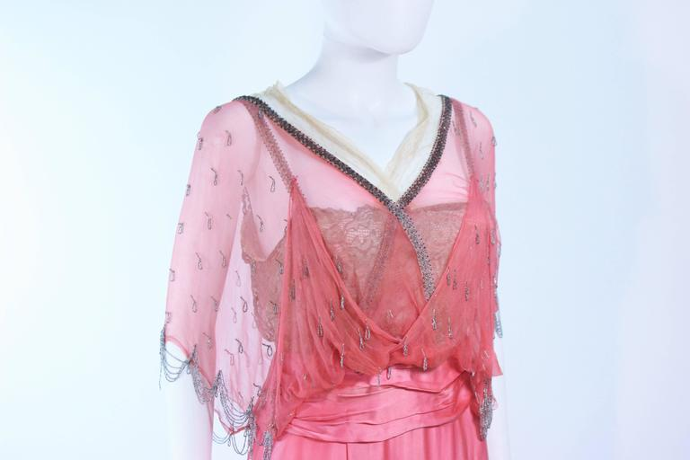 VINTAGE VICTORIAN Pink Silk Gown with Silver Hand Beaded Applique Size 2 4 7