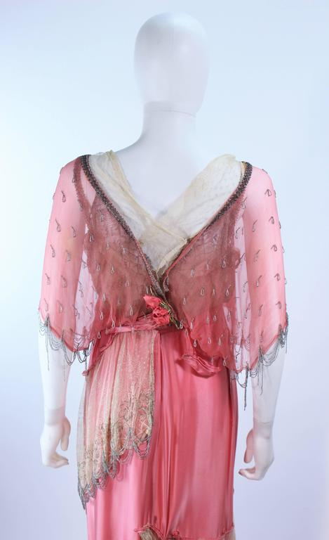 VINTAGE VICTORIAN Pink Silk Gown with Silver Hand Beaded Applique Size 2 4 10