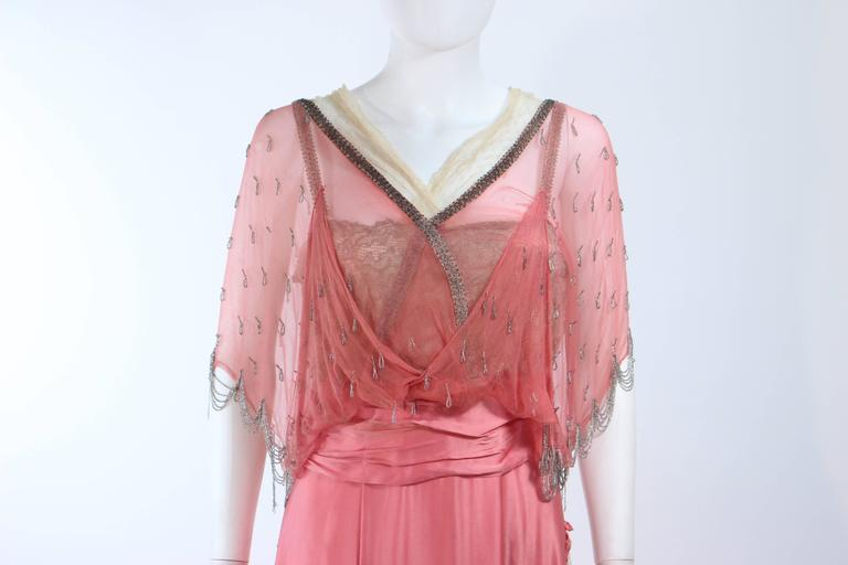VINTAGE VICTORIAN Pink Silk Gown with Silver Hand Beaded Applique Size 2 4 4