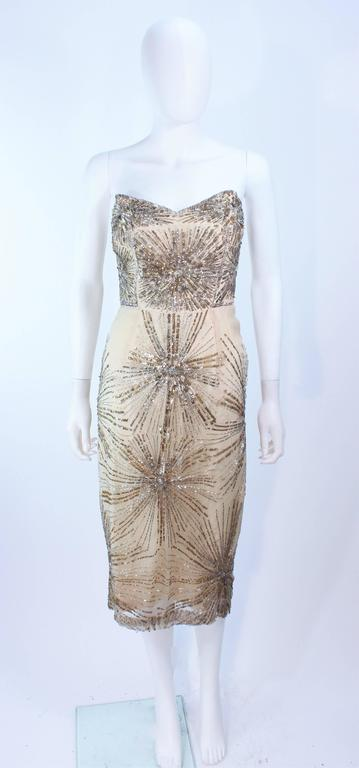 6e2d0174147 Vintage 1930 s Ivory Metal Sequin Beaded Cocktail Dress and Caplet Set Size  2 In Good Condition