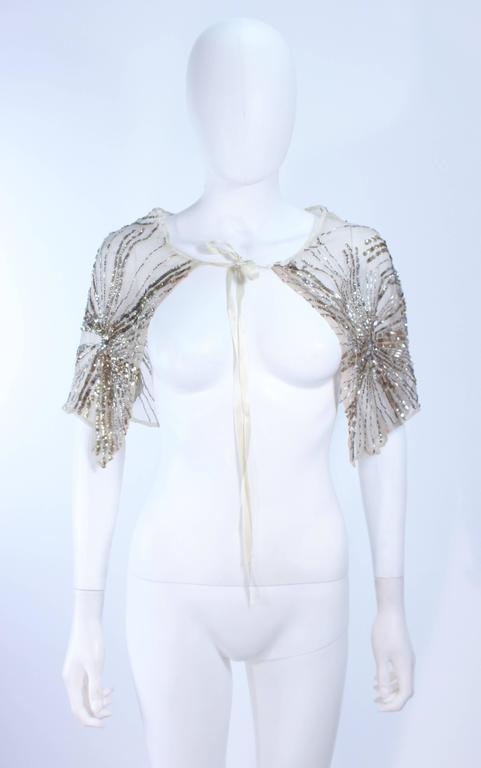 c5ca32e44a7 Vintage 1930 s Ivory Metal Sequin Beaded Cocktail Dress and Caplet Set Size  2 For Sale 5