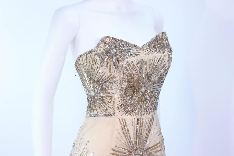 f282a5fe2a4 Vintage 1930 s Ivory Metal Sequin Beaded Cocktail Dress and Caplet Set Size  2 For Sale 2