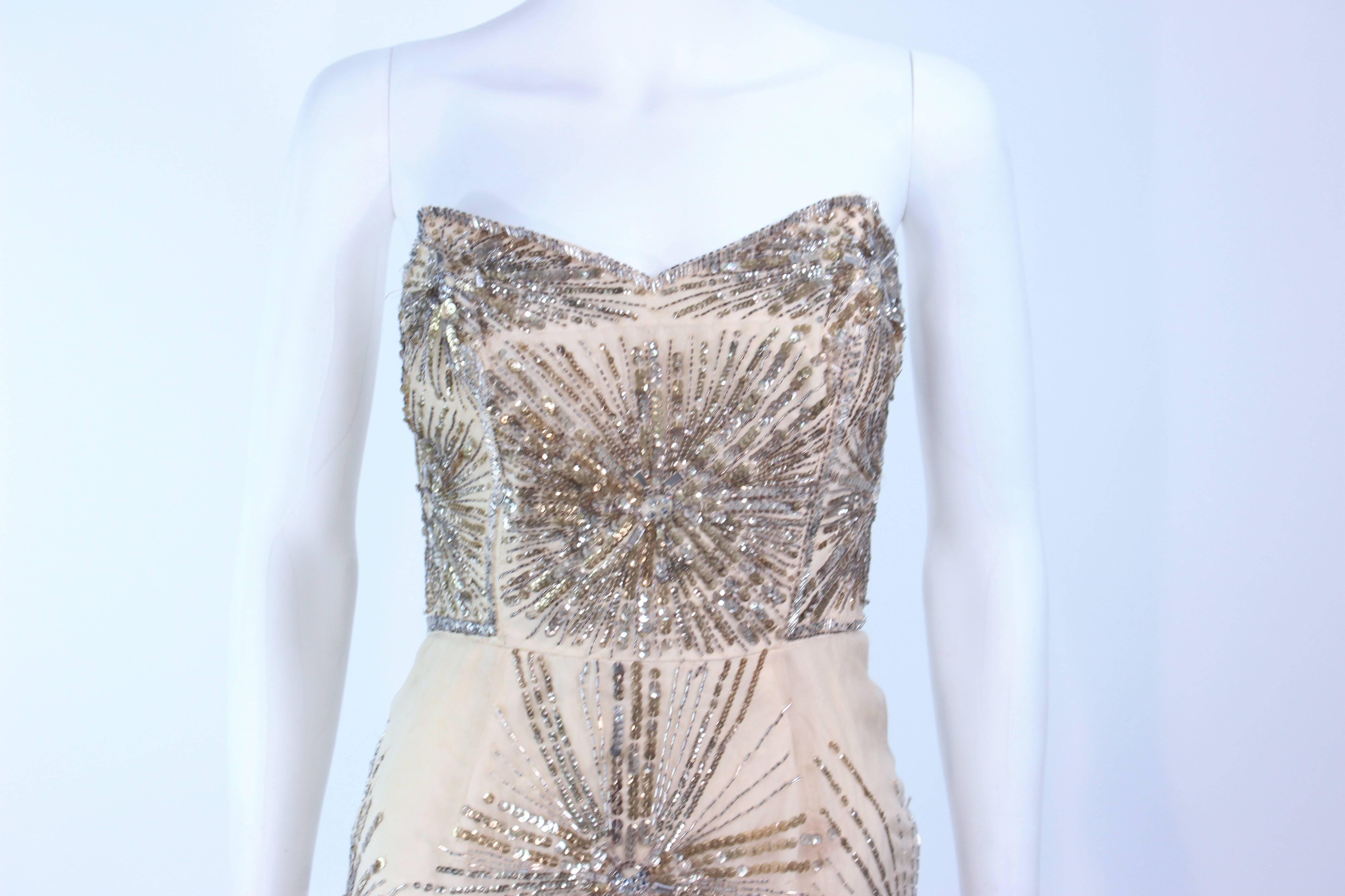 4fd69126832 Vintage 1930 s Ivory Metal Sequin Beaded Cocktail Dress and Caplet Set Size  2 For Sale at 1stdibs