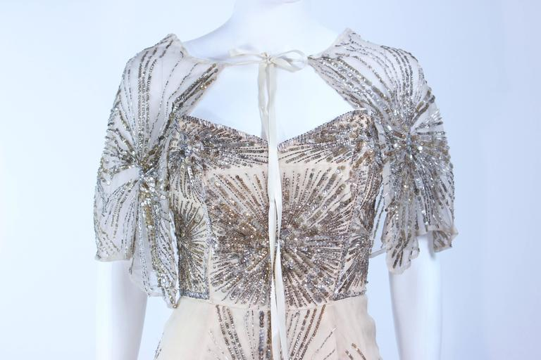 f4c73b77d04 Gray Vintage 1930 s Ivory Metal Sequin Beaded Cocktail Dress and Caplet Set  Size 2 For Sale
