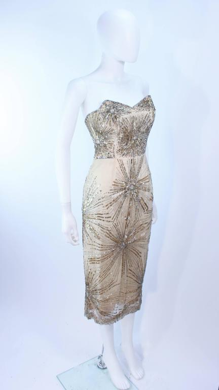 e537b061285 Vintage 1930 s Ivory Metal Sequin Beaded Cocktail Dress and Caplet Set Size  2 For Sale 1