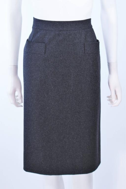 Black YVES SAINT LAURENT Charcoal Wool Pencil Skirt Size 46  For Sale