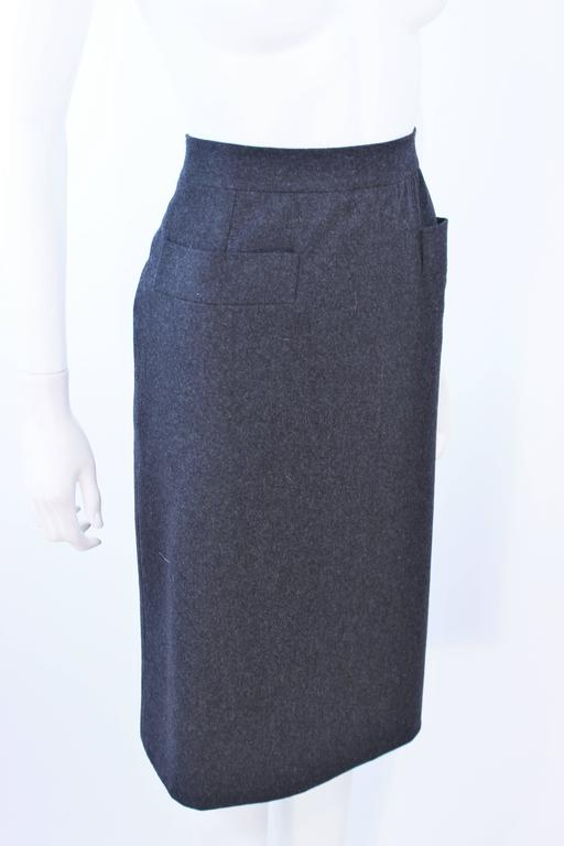 YVES SAINT LAURENT Charcoal Wool Pencil Skirt Size 46  For Sale 1