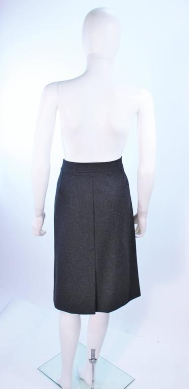 YVES SAINT LAURENT Charcoal Wool Pencil Skirt Size 46  For Sale 2