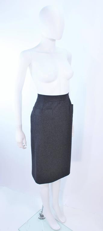 Women's YVES SAINT LAURENT Charcoal Wool Pencil Skirt Size 46  For Sale