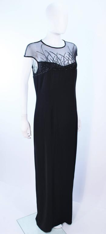 Women's BOB MACKIE Black Sheer Beaded Gown Size 14 For Sale