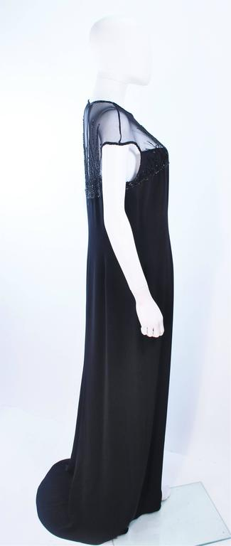 BOB MACKIE Black Sheer Beaded Gown Size 14 For Sale 2
