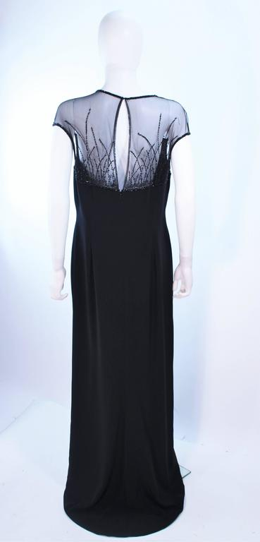 BOB MACKIE Black Sheer Beaded Gown Size 14 For Sale 3