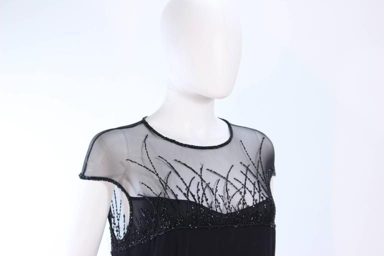 BOB MACKIE Black Sheer Beaded Gown Size 14 For Sale 1