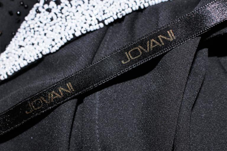 JOVANI Black & White Beaded Gown Size 6 8 9