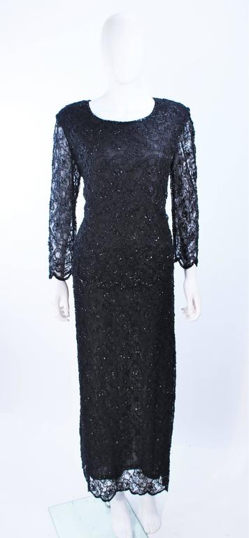 FRANK USHER Black Lace Beaded Gown Sheer Sleeves Size 12 2