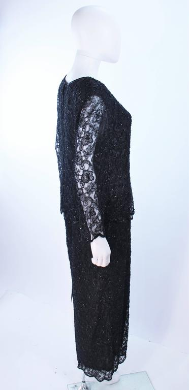 FRANK USHER Black Lace Beaded Gown Sheer Sleeves Size 12 6