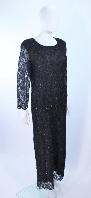 FRANK USHER Black Lace Beaded Gown Sheer Sleeves Size 12 4