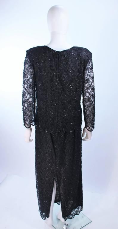 FRANK USHER Black Lace Beaded Gown Sheer Sleeves Size 12 7