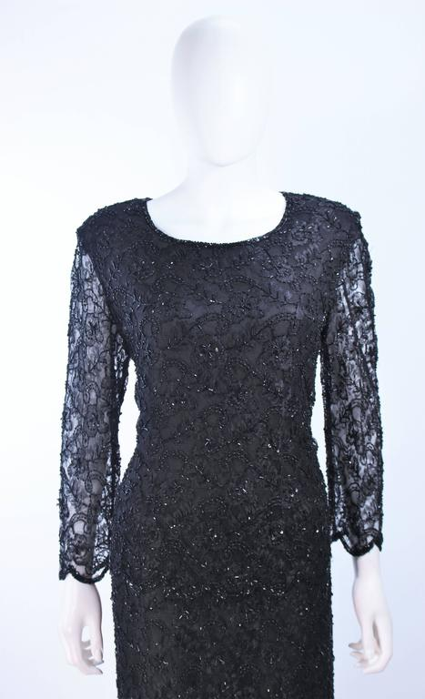 FRANK USHER Black Lace Beaded Gown Sheer Sleeves Size 12 3