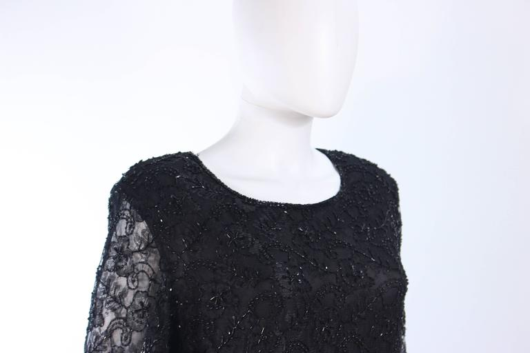 FRANK USHER Black Lace Beaded Gown Sheer Sleeves Size 12 5