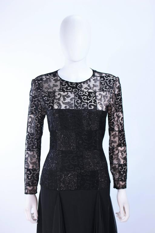CAROLINA HERRERA Black Metallic Lace Gown Draped Chiffon Size 8 10 In Excellent Condition For Sale In Los Angeles, CA