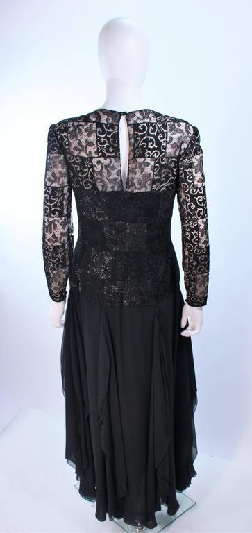 CAROLINA HERRERA Black Metallic Lace Gown Draped Chiffon Size 8 10 7