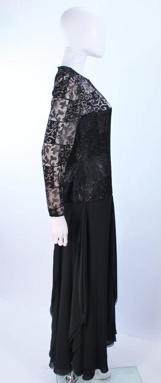 CAROLINA HERRERA Black Metallic Lace Gown Draped Chiffon Size 8 10 6