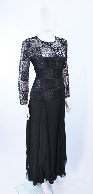 CAROLINA HERRERA Black Metallic Lace Gown Draped Chiffon Size 8 10 4