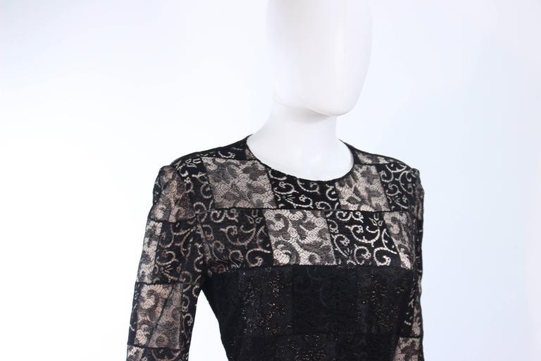 CAROLINA HERRERA Black Metallic Lace Gown Draped Chiffon Size 8 10 5
