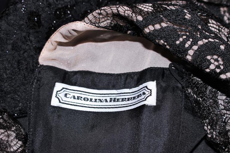 CAROLINA HERRERA Black Metallic Lace Gown Draped Chiffon Size 8 10 8